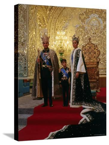 Shah of Iran, Mohamed Reza, Posing with Son Prince Reza and Wife Farah-Dmitri Kessel-Stretched Canvas Print
