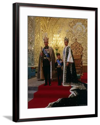 Shah of Iran, Mohamed Reza, Posing with Son Prince Reza and Wife Farah-Dmitri Kessel-Framed Art Print