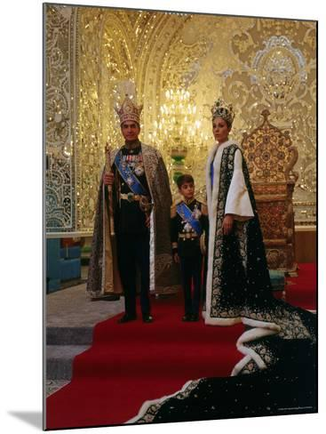 Shah of Iran, Mohamed Reza, Posing with Son Prince Reza and Wife Farah-Dmitri Kessel-Mounted Premium Photographic Print