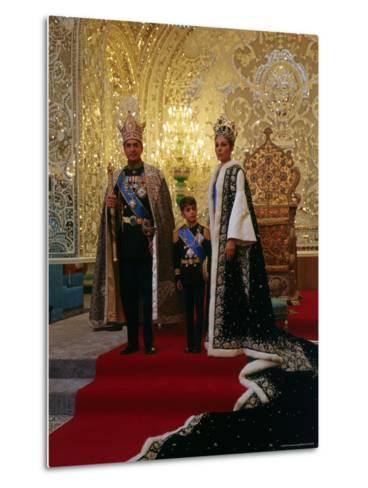 Shah of Iran, Mohamed Reza, Posing with Son Prince Reza and Wife Farah-Dmitri Kessel-Metal Print