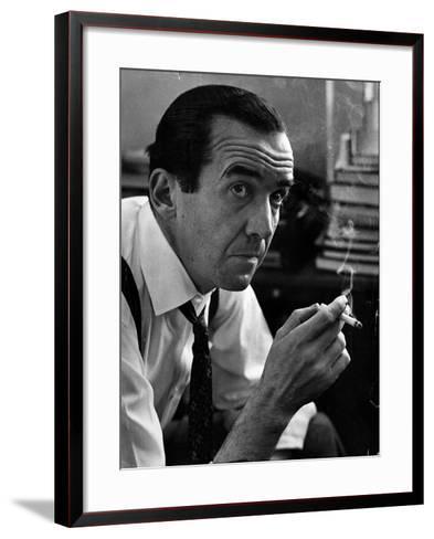 Broadcast Journalist Edward R. Murrow Smoking Cigarette-Lisa Larsen-Framed Art Print