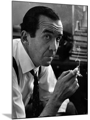 Broadcast Journalist Edward R. Murrow Smoking Cigarette-Lisa Larsen-Mounted Premium Photographic Print
