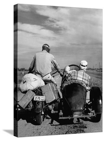 Family Driving on Motorcycle and Sidecar from Omaha, Nebraska to Salt Lake City, UT-Allan Grant-Stretched Canvas Print