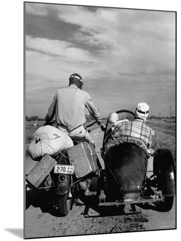 Family Driving on Motorcycle and Sidecar from Omaha, Nebraska to Salt Lake City, UT-Allan Grant-Mounted Photographic Print