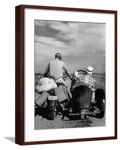 Family Driving on Motorcycle and Sidecar from Omaha, Nebraska to Salt Lake City, UT-Allan Grant-Framed Art Print