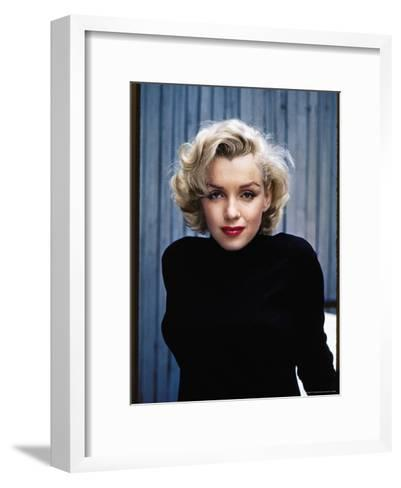Actress Marilyn Monroe Posing at Home in Her Backyard-Alfred Eisenstaedt-Framed Art Print