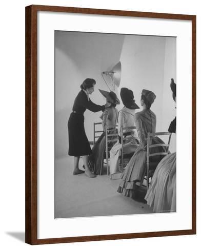 Vogue Magazine Editor Bettina Ballard Directing and prepping models for Photo Shoot at Studio-Nat Farbman-Framed Art Print