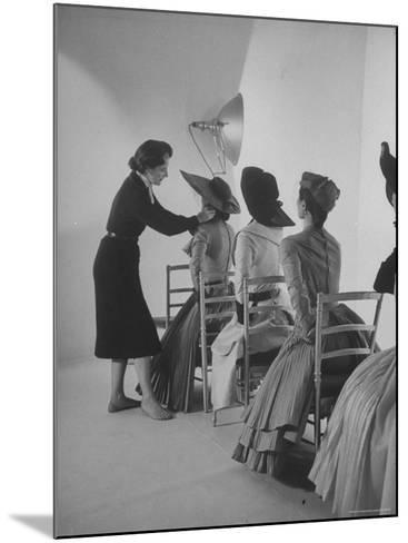 Vogue Magazine Editor Bettina Ballard Directing and prepping models for Photo Shoot at Studio-Nat Farbman-Mounted Premium Photographic Print