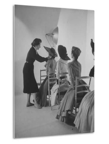 Vogue Magazine Editor Bettina Ballard Directing and prepping models for Photo Shoot at Studio-Nat Farbman-Metal Print