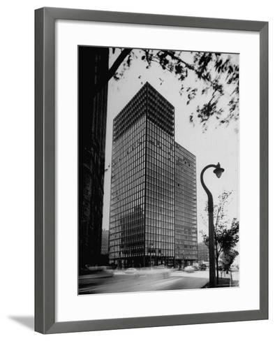 View of Mies Van Der Rohe's Glass Walled Apartment house in Chicago-Ralph Crane-Framed Art Print