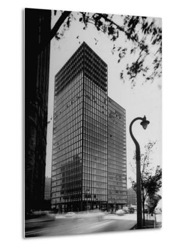 View of Mies Van Der Rohe's Glass Walled Apartment house in Chicago-Ralph Crane-Metal Print