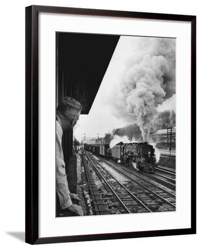 Signalman Nick Carter Watching Oncoming train at Station on the New York Central's Mohawk Division-Alfred Eisenstaedt-Framed Art Print