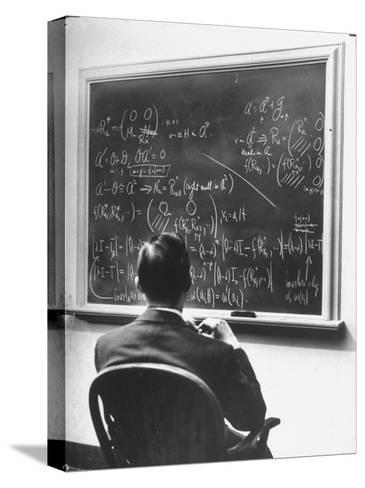Richard Schafer, an Expert in the Field of Non Associative Algebras, Studying Complicated Formulas-Alfred Eisenstaedt-Stretched Canvas Print