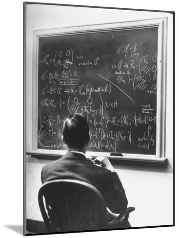 Richard Schafer, an Expert in the Field of Non Associative Algebras, Studying Complicated Formulas-Alfred Eisenstaedt-Mounted Premium Photographic Print