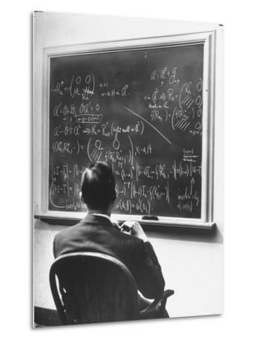 Richard Schafer, an Expert in the Field of Non Associative Algebras, Studying Complicated Formulas-Alfred Eisenstaedt-Metal Print