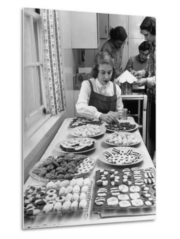 Cornell's Home Economics Student Lois Schumacher prepares food, Classmates Help with Decorations-Nina Leen-Metal Print