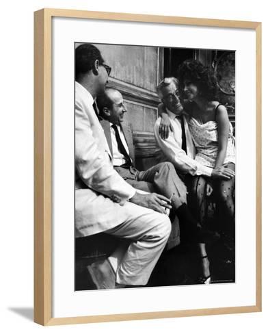 "Sophia Loren Sitting on Director Vittorio de Sica's Lap During Filming ""Marriage, Italian Style""-Alfred Eisenstaedt-Framed Art Print"