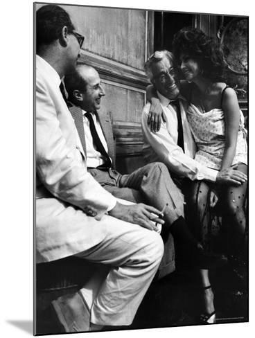 "Sophia Loren Sitting on Director Vittorio de Sica's Lap During Filming ""Marriage, Italian Style""-Alfred Eisenstaedt-Mounted Premium Photographic Print"