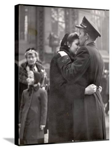 Soldier Tenderly Kissing His Girlfriend's Forehead as She Embraces Him While Saying Goodbye-Alfred Eisenstaedt-Stretched Canvas Print