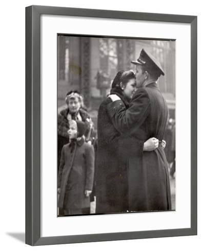 Soldier Tenderly Kissing His Girlfriend's Forehead as She Embraces Him While Saying Goodbye-Alfred Eisenstaedt-Framed Art Print