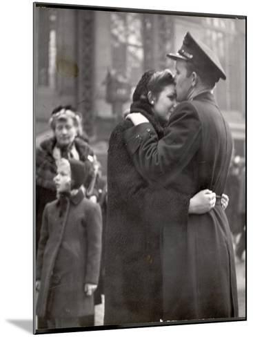 Soldier Tenderly Kissing His Girlfriend's Forehead as She Embraces Him While Saying Goodbye-Alfred Eisenstaedt-Mounted Photographic Print