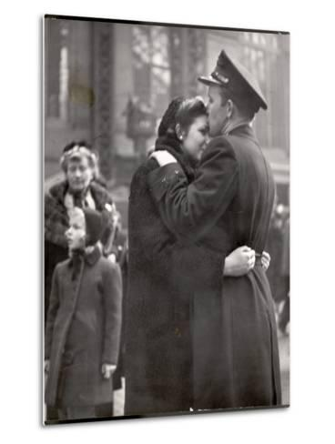 Soldier Tenderly Kissing His Girlfriend's Forehead as She Embraces Him While Saying Goodbye-Alfred Eisenstaedt-Metal Print