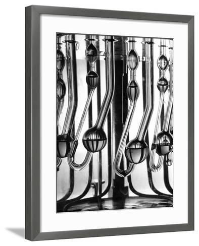 US Laboratory Equipment measuring traces of Radioactivity After Atomic Bomb Test in Bikini Lagoon-Fritz Goro-Framed Art Print