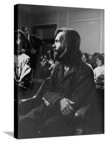 Charles Manson in Court Facing Murder Charges in Brutal Deaths of Actress Sharon Tate and Others-Vernon Merritt III-Stretched Canvas Print