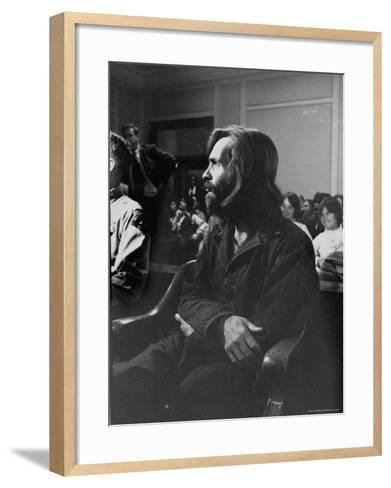 Charles Manson in Court Facing Murder Charges in Brutal Deaths of Actress Sharon Tate and Others-Vernon Merritt III-Framed Art Print