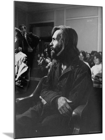 Charles Manson in Court Facing Murder Charges in Brutal Deaths of Actress Sharon Tate and Others-Vernon Merritt III-Mounted Premium Photographic Print