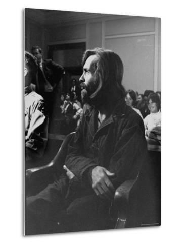 Charles Manson in Court Facing Murder Charges in Brutal Deaths of Actress Sharon Tate and Others-Vernon Merritt III-Metal Print