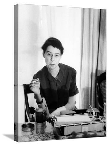 Writer Carson McCullers Sitting at Typewriter-Leonard Mccombe-Stretched Canvas Print
