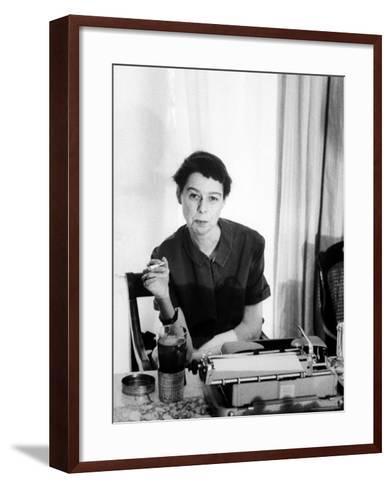 Writer Carson McCullers Sitting at Typewriter-Leonard Mccombe-Framed Art Print