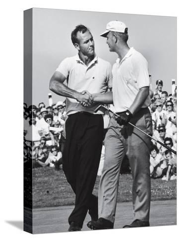 Golfer Jack Nicklaus and Arnold Palmer During National Open Tournament-John Dominis-Stretched Canvas Print