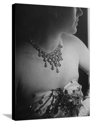 Mrs. Jacques Fath, Wife of Fashion Designer, Wearing Satin Evening Gown and Rhinestone Necklace-Nina Leen-Stretched Canvas Print