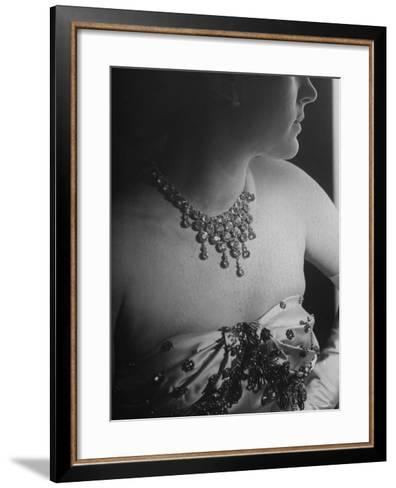 Mrs. Jacques Fath, Wife of Fashion Designer, Wearing Satin Evening Gown and Rhinestone Necklace-Nina Leen-Framed Art Print