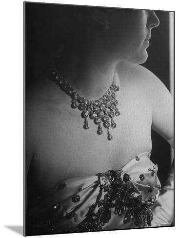 Mrs. Jacques Fath, Wife of Fashion Designer, Wearing Satin Evening Gown and Rhinestone Necklace-Nina Leen-Mounted Premium Photographic Print