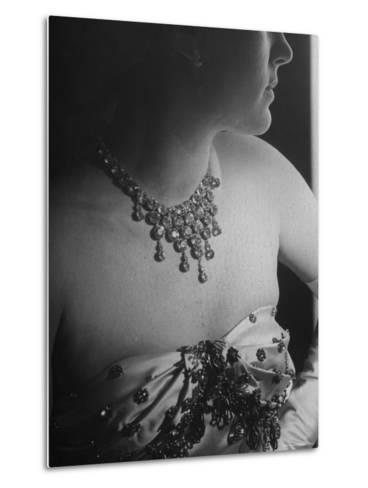 Mrs. Jacques Fath, Wife of Fashion Designer, Wearing Satin Evening Gown and Rhinestone Necklace-Nina Leen-Metal Print