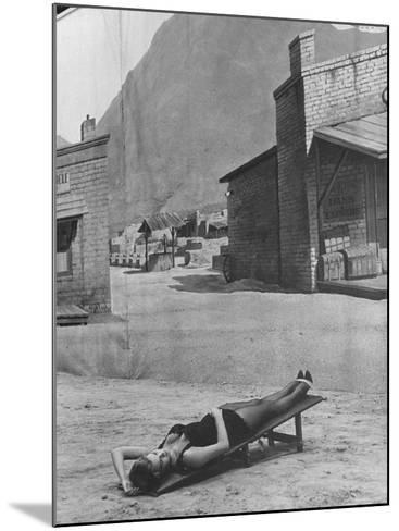 "Actress Angie Dickinson on Set for ""Rio Bravo""-Allan Grant-Mounted Premium Photographic Print"