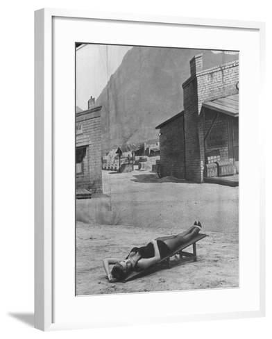 "Actress Angie Dickinson on Set for ""Rio Bravo""-Allan Grant-Framed Art Print"