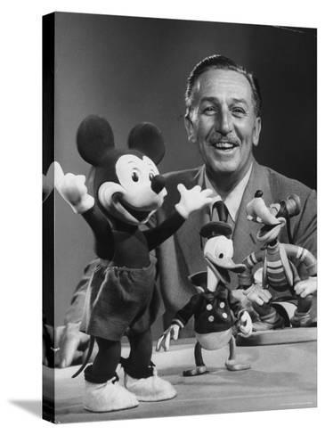 Walt Disney, of Walt Disney Studios, Posing with Some Famous Cartoon Characters-J^ R^ Eyerman-Stretched Canvas Print