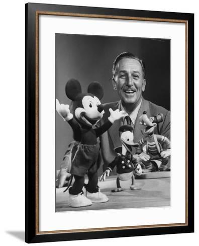 Walt Disney, of Walt Disney Studios, Posing with Some Famous Cartoon Characters-J^ R^ Eyerman-Framed Art Print