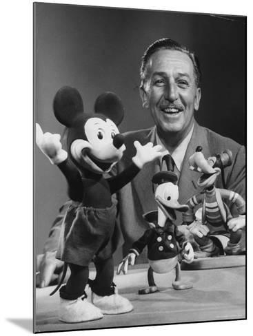 Walt Disney, of Walt Disney Studios, Posing with Some Famous Cartoon Characters-J^ R^ Eyerman-Mounted Premium Photographic Print