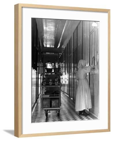 Nurse Distributing Meals in Diphtheria Section of Contagious Disease Hospital at Pasteur Institute--Framed Art Print