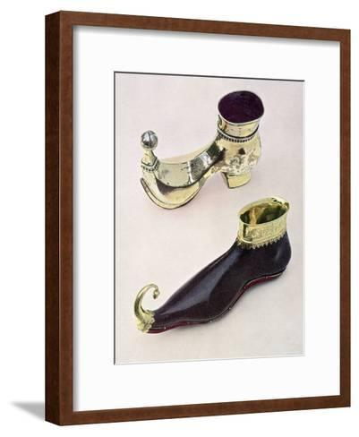 Shoe Shaped Drinking Vessels: Gothic Leather Goblet from 15th Century from Bally Shoe Museum--Framed Art Print