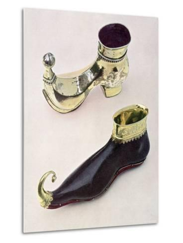 Shoe Shaped Drinking Vessels: Gothic Leather Goblet from 15th Century from Bally Shoe Museum--Metal Print