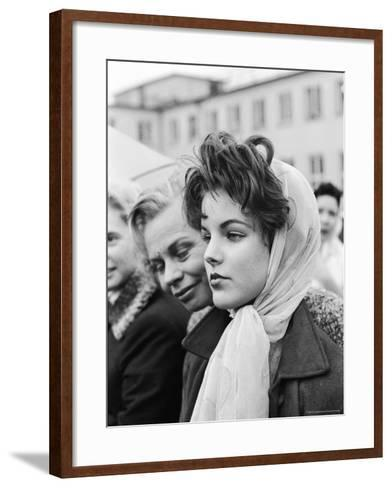 Priscilla Beaulieu, Girlfriend of Elvis Presley, at Airport to See Star at End of His Tour of Duty-James Whitmore-Framed Art Print