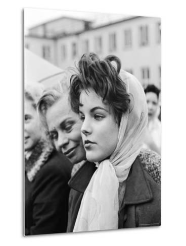 Priscilla Beaulieu, Girlfriend of Elvis Presley, at Airport to See Star at End of His Tour of Duty-James Whitmore-Metal Print
