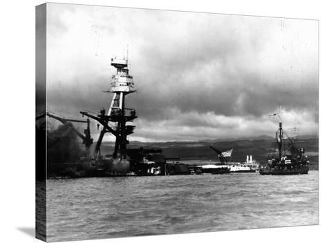 Smoking Wreckage of USS Battleship Arizona During Japanese Surprise Attack on the Pearl Harbor--Stretched Canvas Print