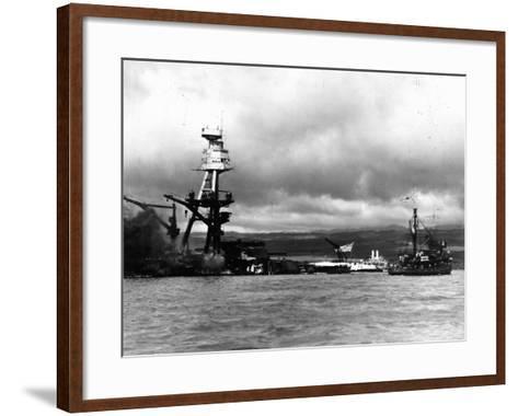Smoking Wreckage of USS Battleship Arizona During Japanese Surprise Attack on the Pearl Harbor--Framed Art Print